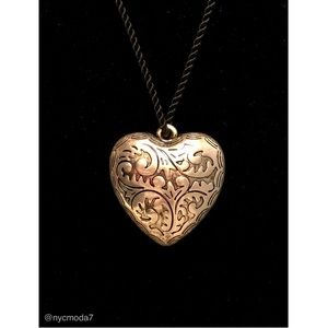 Jewelry - Engraved Silver-Tone Puff Heart Pendant